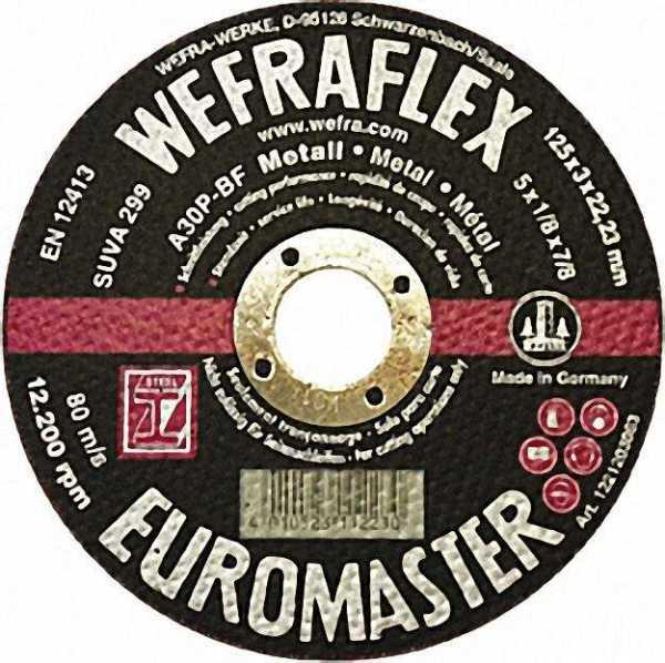 Trennscheibe Euromaster gerade für Metall 125 x 3 x 22mm