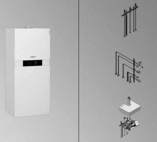 VIESSMANN Vitodens 222-F Gastherme ab 13 kW mit Vitotronic 200 & Anschl.-Set für AP li oder re