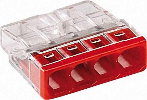 Verbindungsdosenklemmen 4-Leiter-Klemmen, rot 2273-204 / VPE 100 Stück