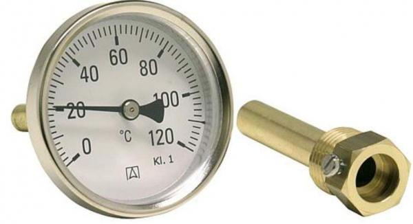 AFRISO Bimetall-Industriethermometer G 1/2 axial, Kl. 1,0/120°C BiTh ø 63 mm, ET 63 mm
