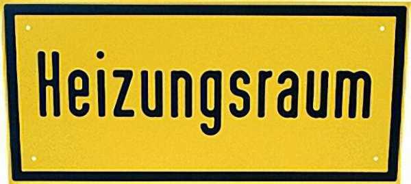 Hinweisschild ''Heizungsraum'' Farbe gelb, 14 x 30cm Aluminium