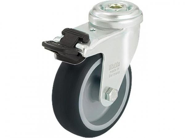 BLICKLE Lenkrolle mit Feststeller LRA-TPA 75G-FI, Tragfähigkeit 75 kg Rad D= 75mm, Rückenloch 11mm