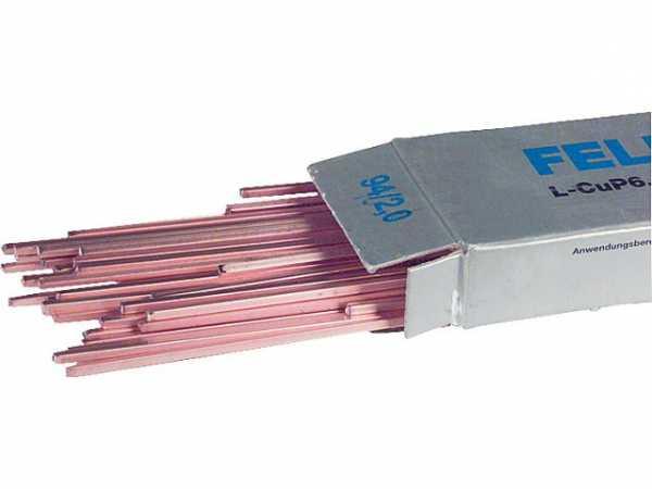 Felder-Kupfer-Hartlot DIN 8513 Vierkant-Stäbe, 500 mm lang VPE = 1 kg 2 mm