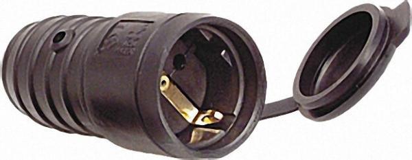 Gummi-Schutzkontaktkupplung schwarz, 10/16A 250V mit Deckel, IP44
