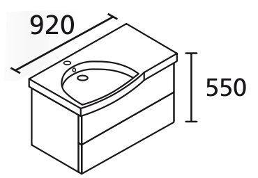 LANZET 7104512 K3 Waschtischunterschrank: 88/48/47 links Pinie/Pinie, 2 Schubladen