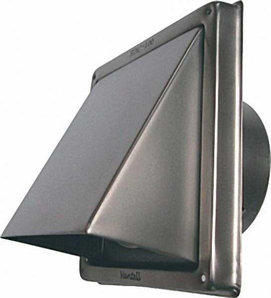 Ablufthaube Edelstahl V2A gebürstet Anschlussstutzen 125mm Durchmesser, Aussenmaße 180 x 180mm