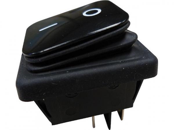 Einbau-Wippenschalter Ausschalter, IP65 schwarz/schwarz, 1 Stück