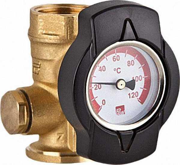 Thermometerkugelhahn TKS mit Zeigerthermometer rot 1 1/4''Flansch 1 1/4''IG