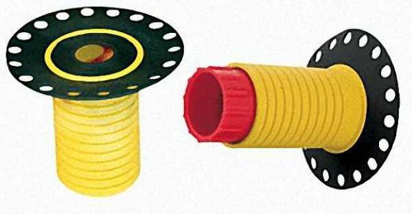 Leckagen-Bauhülse Gelb 1/2''-3/4'' Gesamtlänge:65mm / 40mm d Mit Einputzhilfe:80mm d