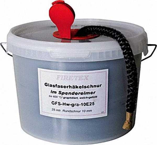 Glasfaserrundschnur weiß D=10mm, 25m im Spendereimer GFS-H-10E25