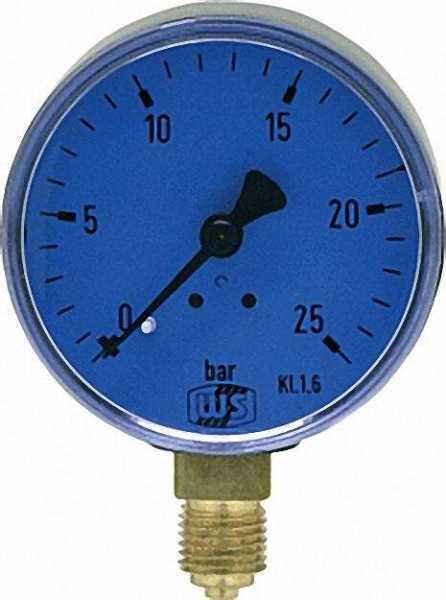 Öldruckmanometer ohne Glyzerin- dämpfung 0-25bar 63mm 1/4'' unten
