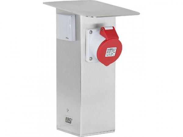 Garten-Steckdosensäule aus Edelstahl 2x Schutzkontaktsteckdose 230V 50Hz, 1x CEE 16A/5polig 400V