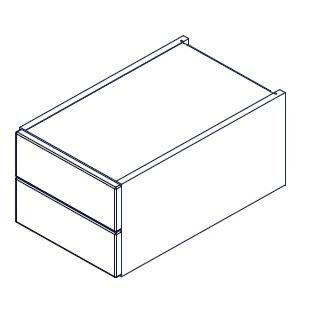 LANZET 7246312 Q4 Schubelement, 30x24x50, Weiß/Weiß, 2 Schubladen