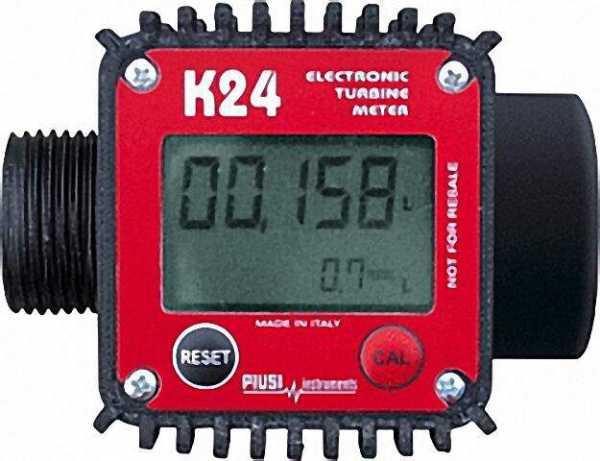 Digitaler Turbinenzähler K24 mit 1'' IG/AG bis 120l/min