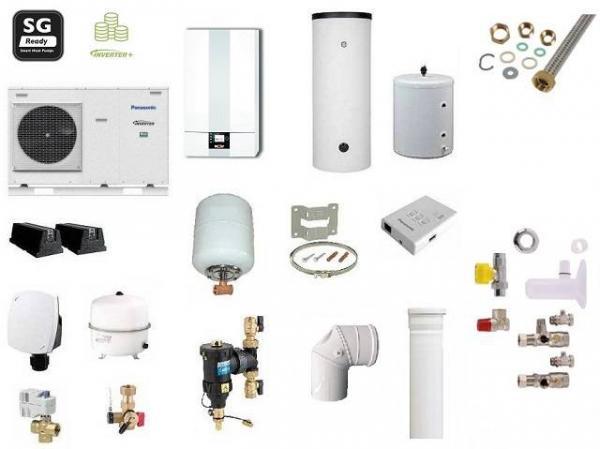 Hybridheizung Gasheiztherme mit Monoblock-Wärmepumpe, Panasonic Aquarea LT 7,0kW und Wolf CGB-2-20kW, 300L