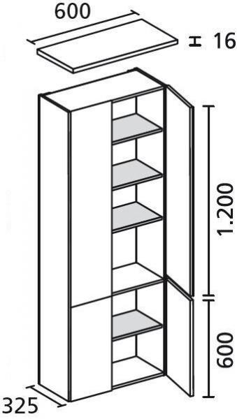 LANZET 7122712 Hochschrank 60/182/30 Grafit/Gr. 4 Türen