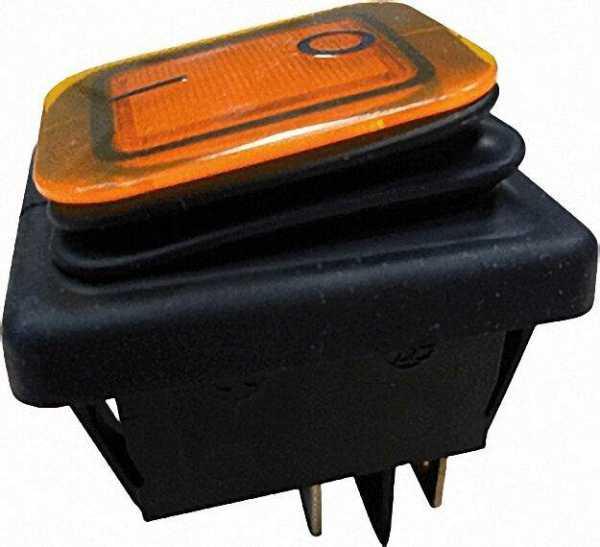 Einbau-Wippenschalter Ausschalter, IP65 schwarz/gelb, 1 Stück