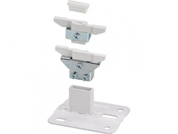 Standfix für Innenmontage weiß bestehend aus: Fuß, Konsole, Halter und Stopfen, Größe 80-100mm