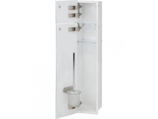 WC-Edelstahl-Einbaucontainer, innen weiß, 2 weiße Glastüren, 1 Leerfach, BxH: 180x825 mm, Anschlag