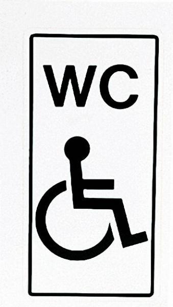 Hinweisschild ''Behind. -WC'' Farbe weiß, 14. 8 x 7. 4 cm Klebefolie