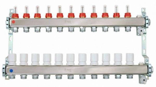 Heizkreisverteiler aus Edelstahl für Fußbodenheizung Profi-Ausführung 11-fach