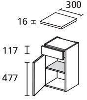 LANZET 7114712 Unterschrank 30/60/30 links Grafit/Grafit, 1 Tür / 1 Schublade