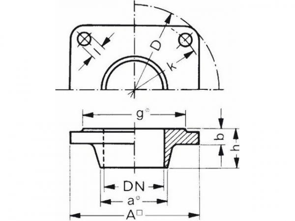 Buderus 5430744 Vorschweißflansch 40x45 vierkant 110