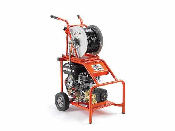 Benzin Hochdruck Rohrreinigungs- gerät KJ-3100 mit Impuls, 15m Schlauch, 205 bar