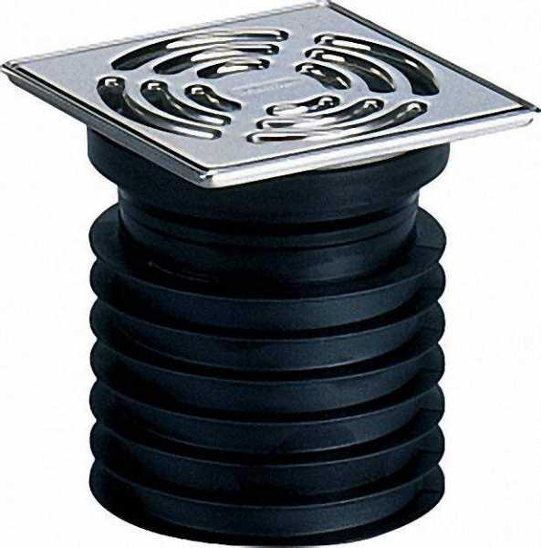 DALLMER 700063 Pronto-Einsteckablauf DN 100 senkrecht mit Edelstahlrost 115 x 115mm