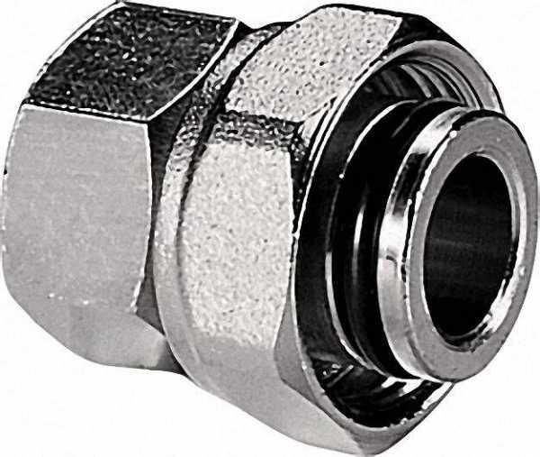 Schraubverbinder mit drehbar Mutter Durchgang IG x IG 3/4 IG x Eurokonus Messing blank
