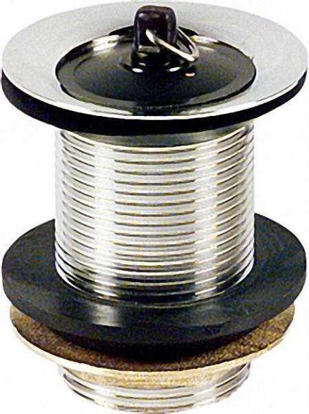 Schaftventil 1 1/4'' x 60mm Messing verchromt mit Überlauf mit Stopfen
