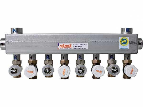 MAGRA 10240600717 Edelstahl-Heizkreisverteiler 60/60 mit montierten Ventilen und Rondo- Abgleichventil für 7 Heizgruppen