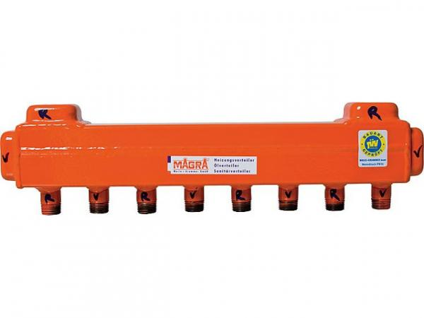 MAGRA 10200600800 Heizkreisverteiler 60/60 für 8 Heizgruppen ohne Ventile