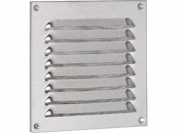 Wetterschutzgitter Edelstahl mit Insektenschutz, Schrauben und Dübel 150x150mm