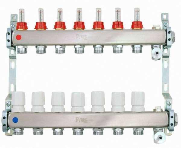 Heizkreisverteiler aus Edelstahl für Fußbodenheizung Profi-Ausführung 7-fach