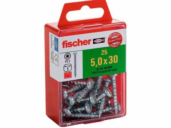 Fischer 652848 Spanplattenschraube Power-Fast 3,5 x 12 Halbrundkopf blauverzinkt Vollgewinde Kreuzschlitz PZ 25 St/ück