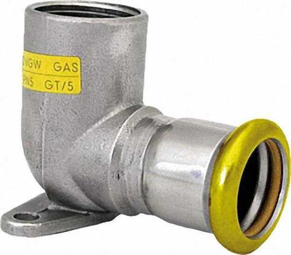 Edelstahl Pressfitting Gas Deckenwinkel 90° mit IG 18 x 1/2