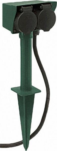 2-fach Gartensteckdose mit Erdspieß Kabel 1,5m Farbe Schwarz