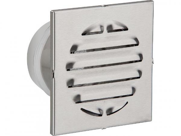 Wetterschutzgitter mit Stutzen V2A 100 D länge 100mm Außenmaß 150x150 eckig