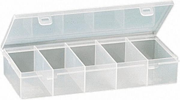 Kleinteilebox 5 Fächer / Farbe transparent l=268mm, b=188mm, h=50mm