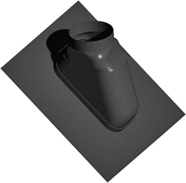 Kunststoff-Abgassystem Schrägdachpfanne 25-55°, schwarz, flexibel, DN 60/100