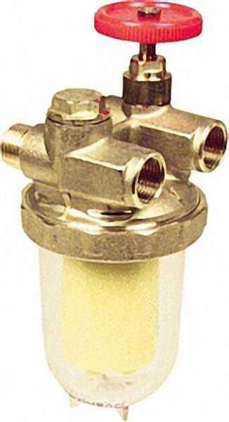 OVENTROP Heizölfilter für Zweistrangsystem brennerseitig Außengewinde3/8'' tankseitig Innengewinde3/