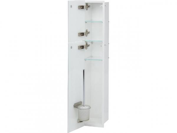 WC-Edelstahl-Einbaucontainer, innen weiß, 2 weiße Glastüren, 2 Leerfächer, BxH: 180x975 mm, Anschlag