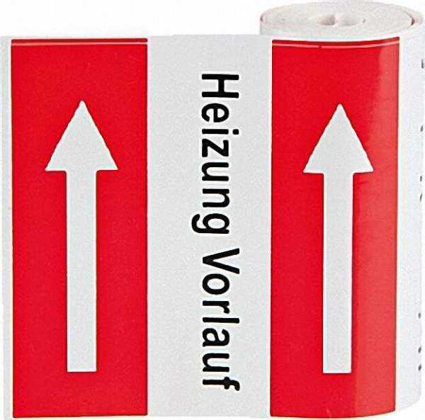 Klebebezeichnungsbänder Heizung VL 78mm breit, Rolle mit 5m