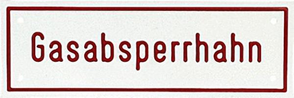 Hinweisschild ''Gasabsperrhahn'' Farbe weiß, rote Schrifür 5x 15cm Aluminium