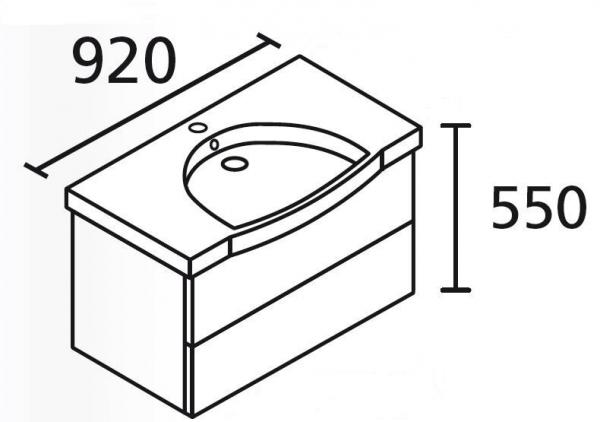 LANZET 7402112 K3 Waschtischunterschrank: 88/48/43,5 Dekor Dark Oak, 2 Schubladen