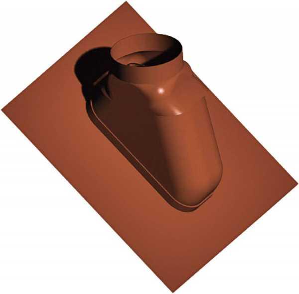 Kunststoff-Abgassystem Schrägdachpfanne 25-55°, rotbraun, flexibel, DN 60/100