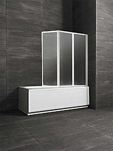 Badewannenaufsatz 3-teilig, Alurahmen weiß, Sicherheitsglas 3mm, Höhe 1400mm, Breite 1200mm