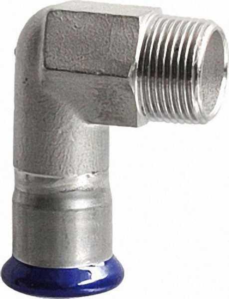 Edelstahl-Pressfitting Übergangswinkel 90°, 15 x 3/4'' (i/AG)