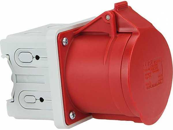 CEE-Anbausteckdose 16A, 400V für Hutschiene oder Elektroinstallationskanal